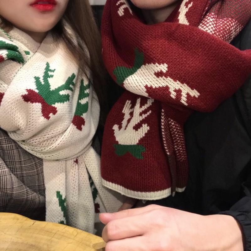 【HOT 本舖】聖誕圍巾 針織圍巾 小鹿聖誕圍巾 韓版 冬日保暖 新年聖誕 喜慶網紅款 情侶款 保暖必備