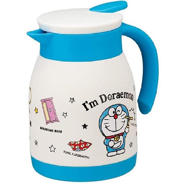 小禮堂 哆啦A夢 單耳不鏽鋼茶壺 熱水壺 咖啡壺 飲料壺 保溫壺 600ml (藍白 道具) 4973307-51319