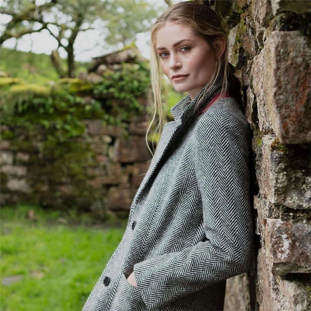 Magee 1866 Black & White Herringbone Emma Donegal Tweed Coat