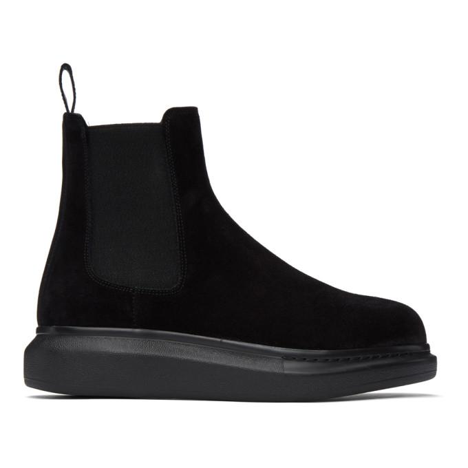 Alexander McQueen 黑色 Hybrid 绒面革切尔西靴