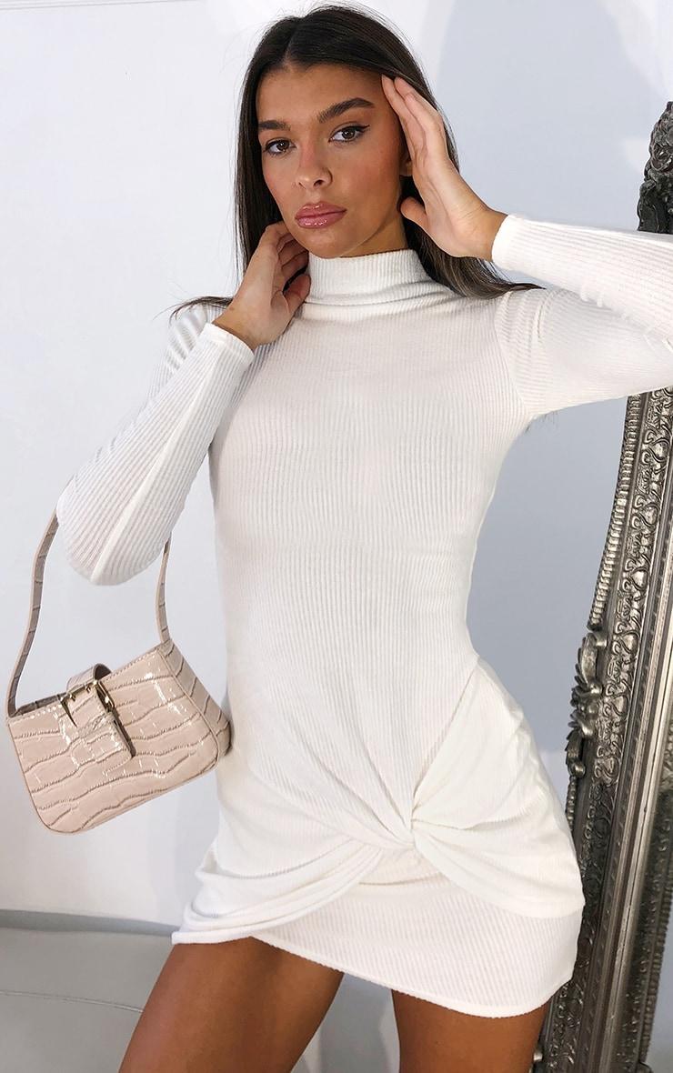 Cream Brushed Rib Long Sleeve Twist Skirt Detail Bodycon Dress