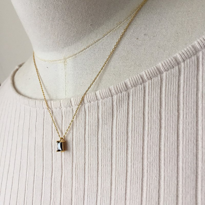 簡約系 復古黑鑽項鍊 【925純銀】【金色項鍊】【鎖骨鍊】