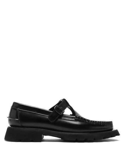 Hereu - Alber Tread-sole T-bar Leather Loafers - Womens - Black