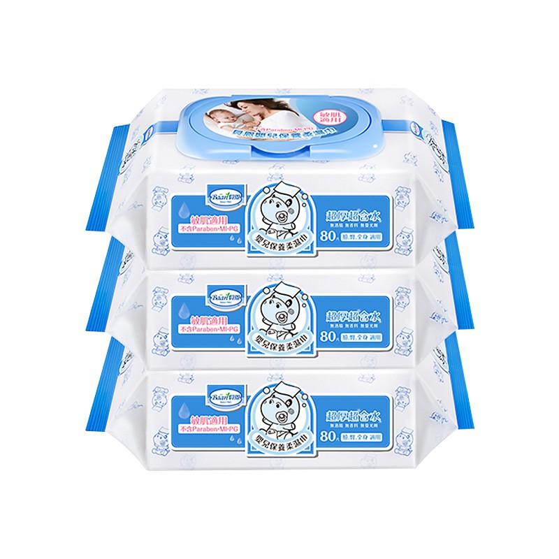 Baan貝恩 嬰兒保養柔濕巾-無香料 80抽x3包 (一袋) 濕紙巾【新高橋藥妝】限宅配