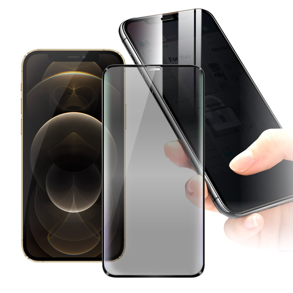 CITY for iPhone 12 Pro Max 6.7吋 防偷窺玻璃滿版玻璃保護貼-黑