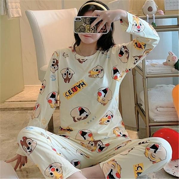 睡衣 2021睡衣女春秋季長袖套裝可愛學生寬松網紅爆款少女家居服外穿1
