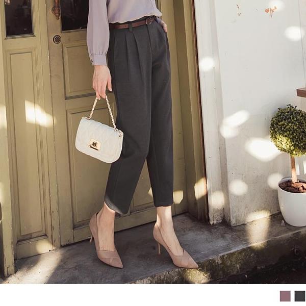 《BA5954》附質感皮帶造型褲絆打褶毛呢直筒西裝褲/長褲--適 2L~6L OrangeBear