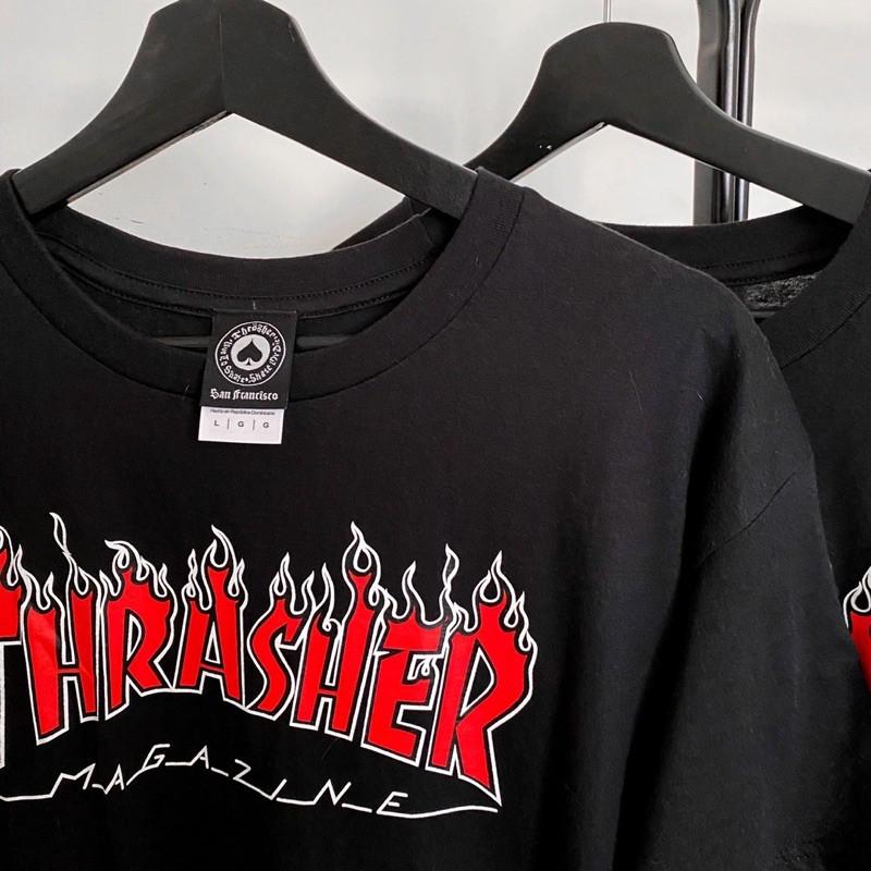 現貨供應THrasher 紅白火焰寬鬆短袖T恤