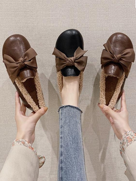 一腳蹬毛毛鞋女外穿2020冬季新款豆豆鞋加絨秋冬百搭平底小皮鞋潮 安雅家居館