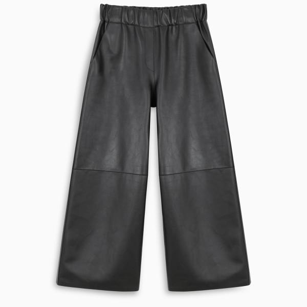Loewe Black cropped trousers in nappa