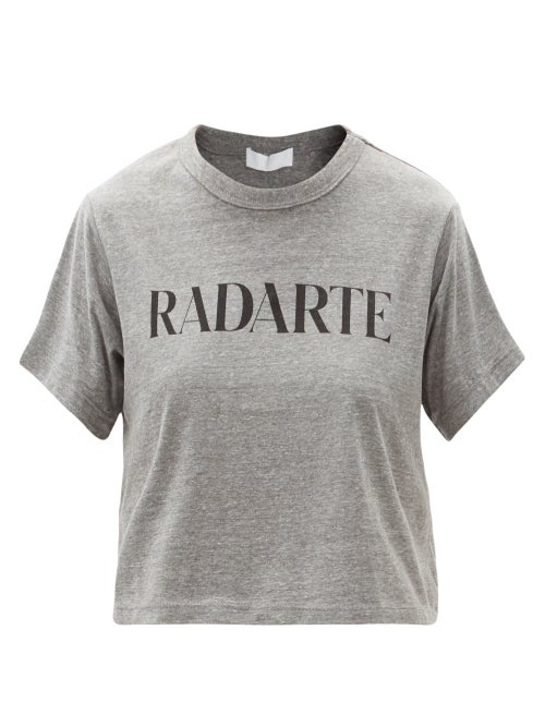 Rodarte - Radarte-print Jersey Cropped T-shirt - Womens - Grey