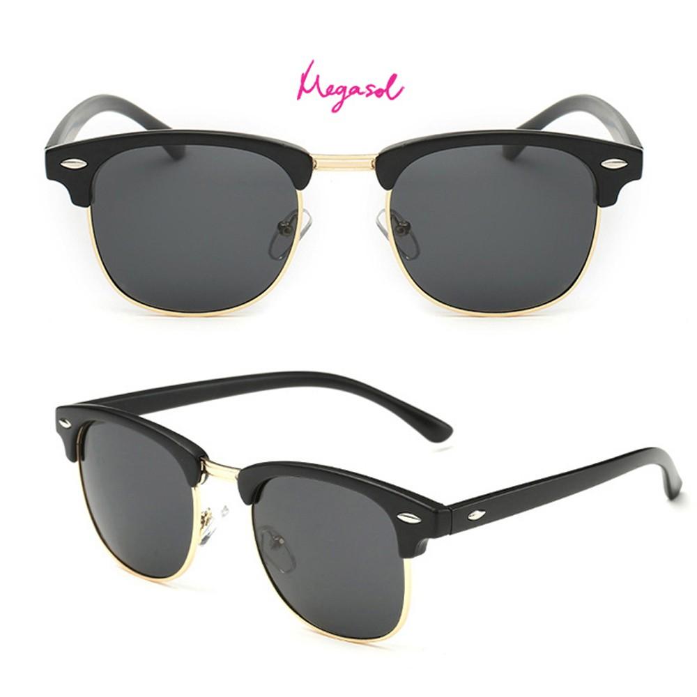 MEGASOL 中性男孩女孩 UV400抗紫外線偏光 太陽眼鏡(帥氣貓頭鷹大框3016-多色可選) 廠商直送