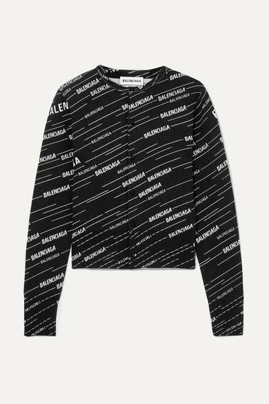 Balenciaga - 嵌花羊毛混纺开襟衫 - 黑色 - small