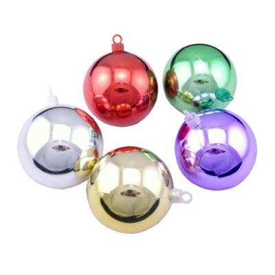 聖誕球吊飾佈置裝飾  80mm亮球-金色/銀色/綠色/紅色/紫色(6入/組)