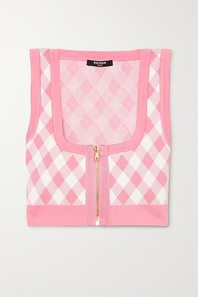 Balmain - 格纹提花针织短款上衣 - 粉红色 - FR34