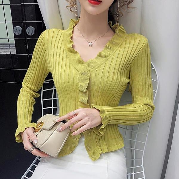 特惠 針織衫女年秋季新款韓版時尚修身顯瘦木耳邊V領長袖短款上衣