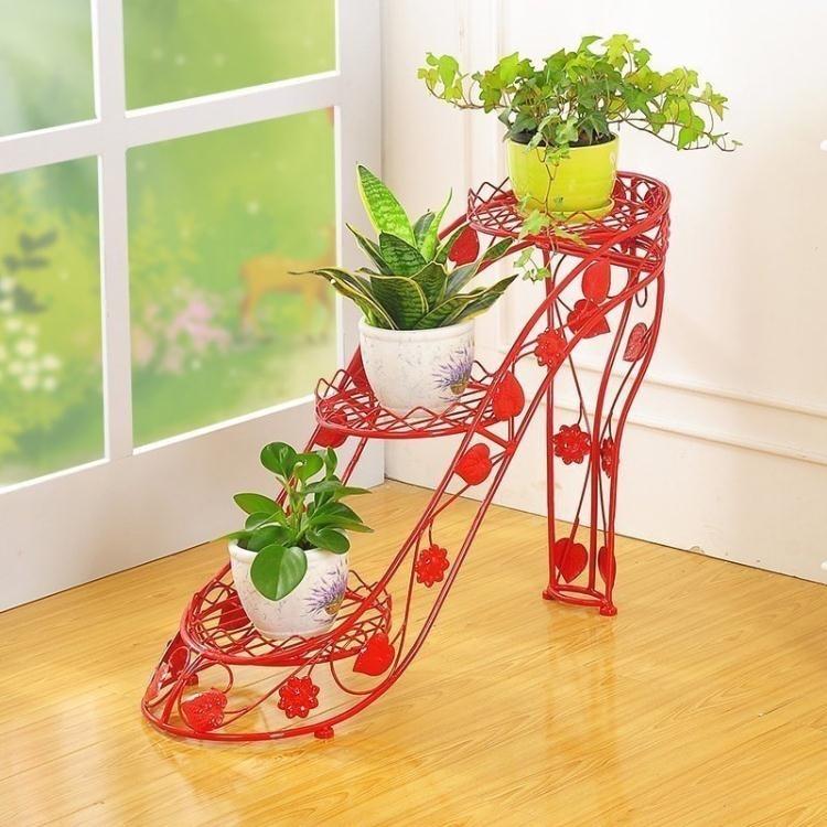 花架 鐵藝花架多層花盆架室內外客廳陽台高跟鞋創意花架子綠蘿吊蘭花幾-xp