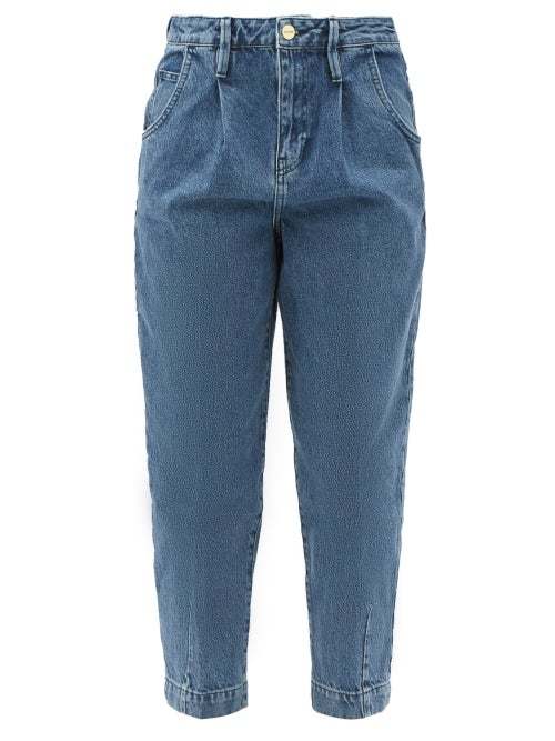 Frame - Pleated High-rise Barrel-leg Jeans - Womens - Denim