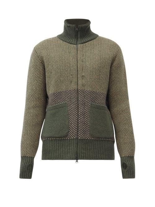Oliver Spencer - High-neck Wool Cardigan - Mens - Green Multi