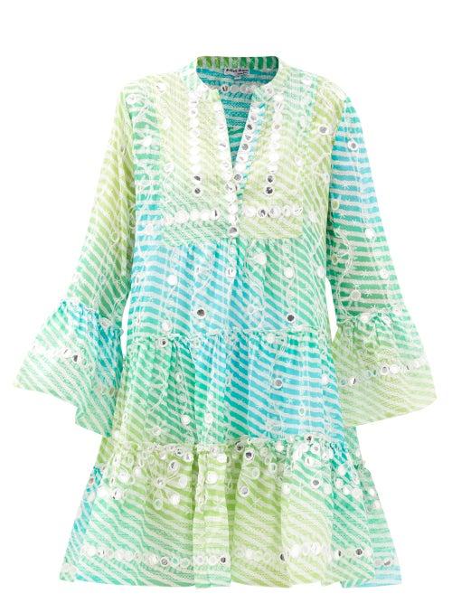 Juliet Dunn - Mirror-work Tiered Gauze Dress - Womens - Blue Multi