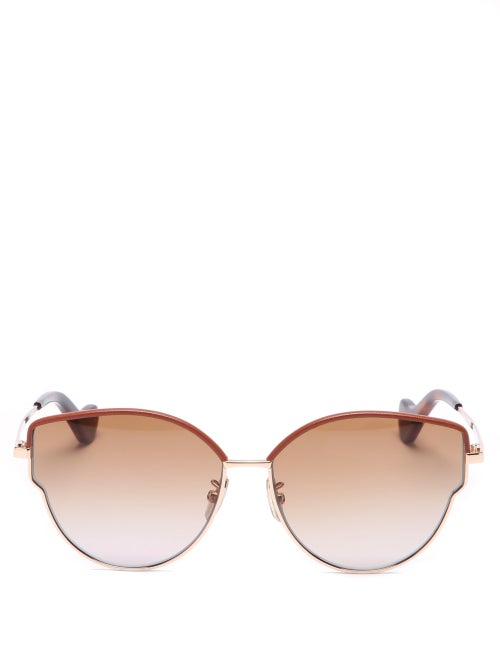 Loewe - Leather-trimmed Cat-eye Metal Sunglasses - Womens - Red