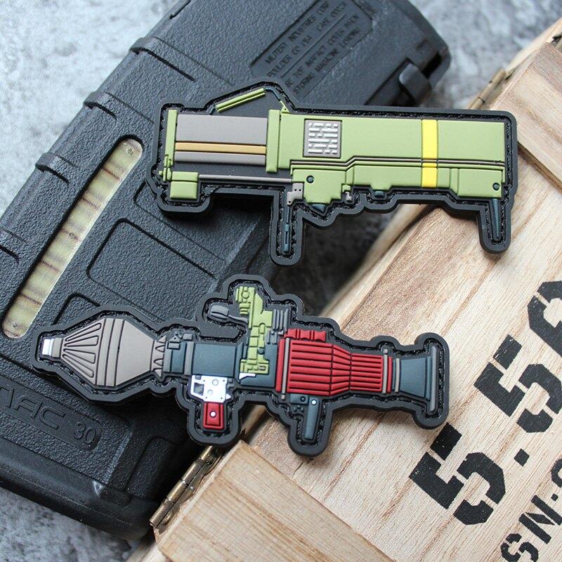Q版武器魔術章PVC膠章魔術貼士氣章塑料40火箭筒M72LAW徽章臂章貼1入