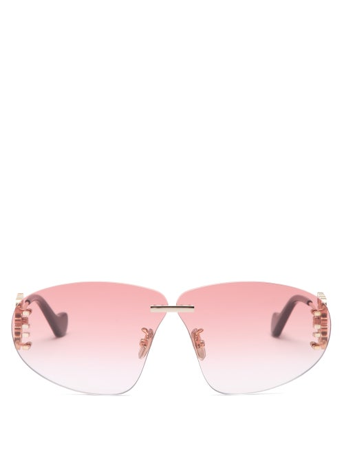 Loewe - Anagram-hinge Rimless Mask Metal Sunglasses - Womens - Pink
