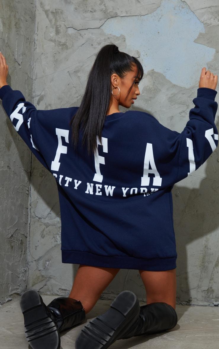 Petite Navy Buffalo New York Slogan Sweat Jumper Dress