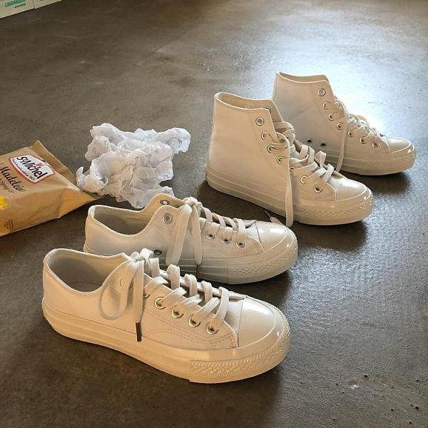 林先參 日系小白鞋女ins潮2020新款冬季高幫帆布鞋子韓版百搭板鞋 安雅家居館