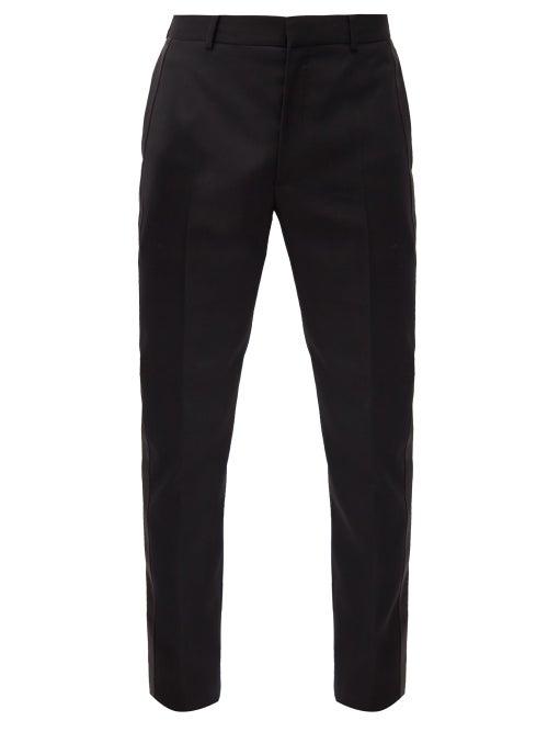 Alexander Mcqueen - Satin-stripe Wool Slim-leg Suit Trousers - Mens - Black