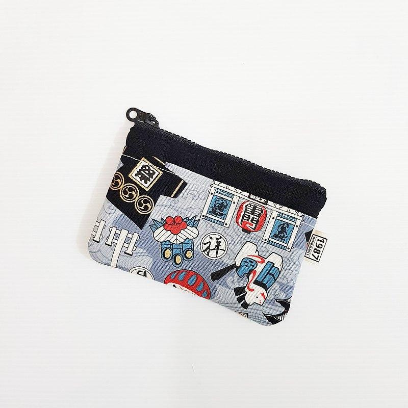 【日式圖騰-灰(黑)】 日系!!! 零錢包 隨身包 拉鏈袋 聖誕禮物