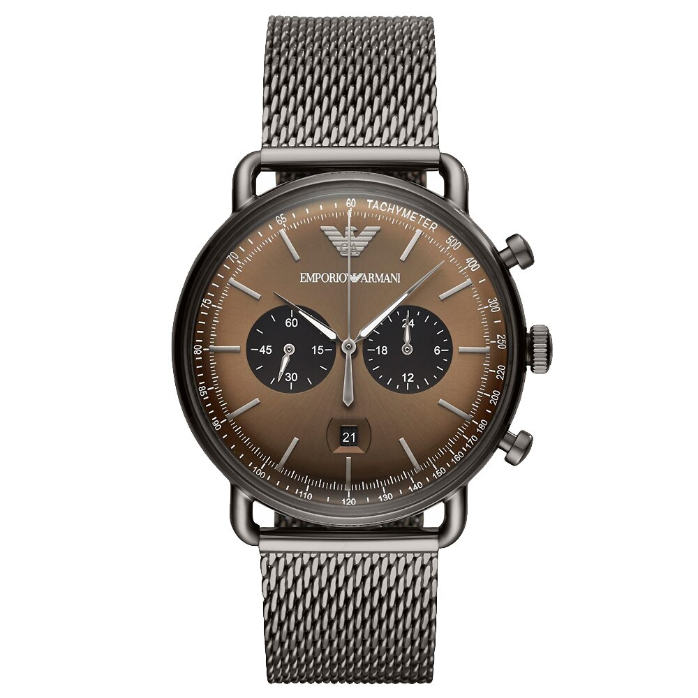 【海外代購】EMPORIO ARMANI 洗鍊氣質三眼計時男錶 咖啡/金屬灰 43mm AR11141
