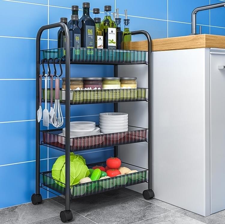 廚房收納架 廚房置物架落地多層可行動小推車收納架廚房蔬菜籃子收納架菜架子 新年禮物