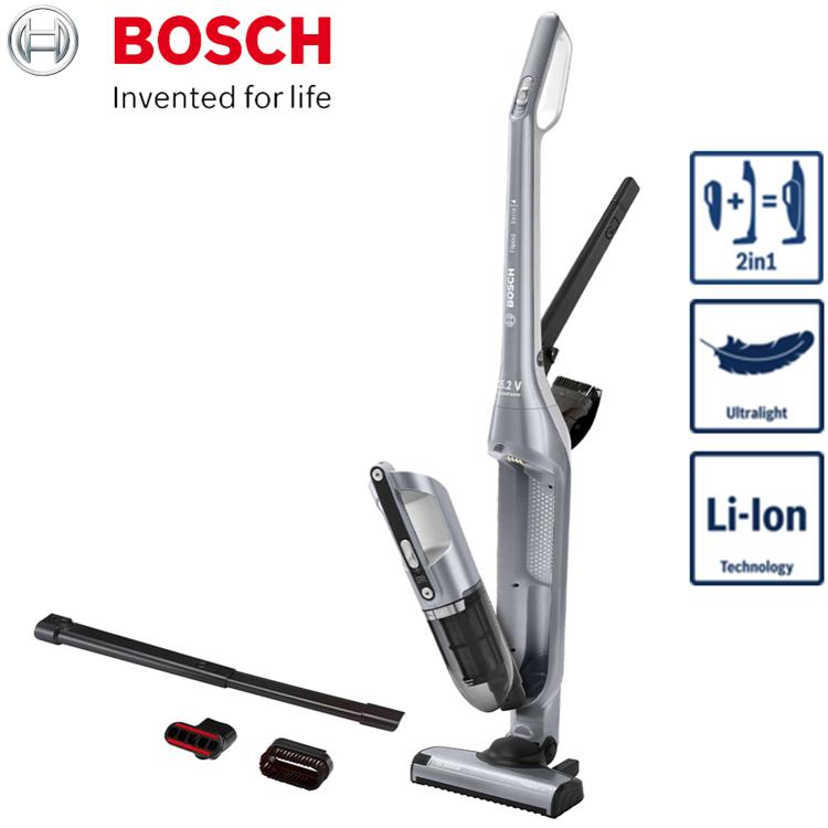 【BOSCH 博世】淨擊二合一直立式無線吸塵器 BCH3252TW (極致銀)