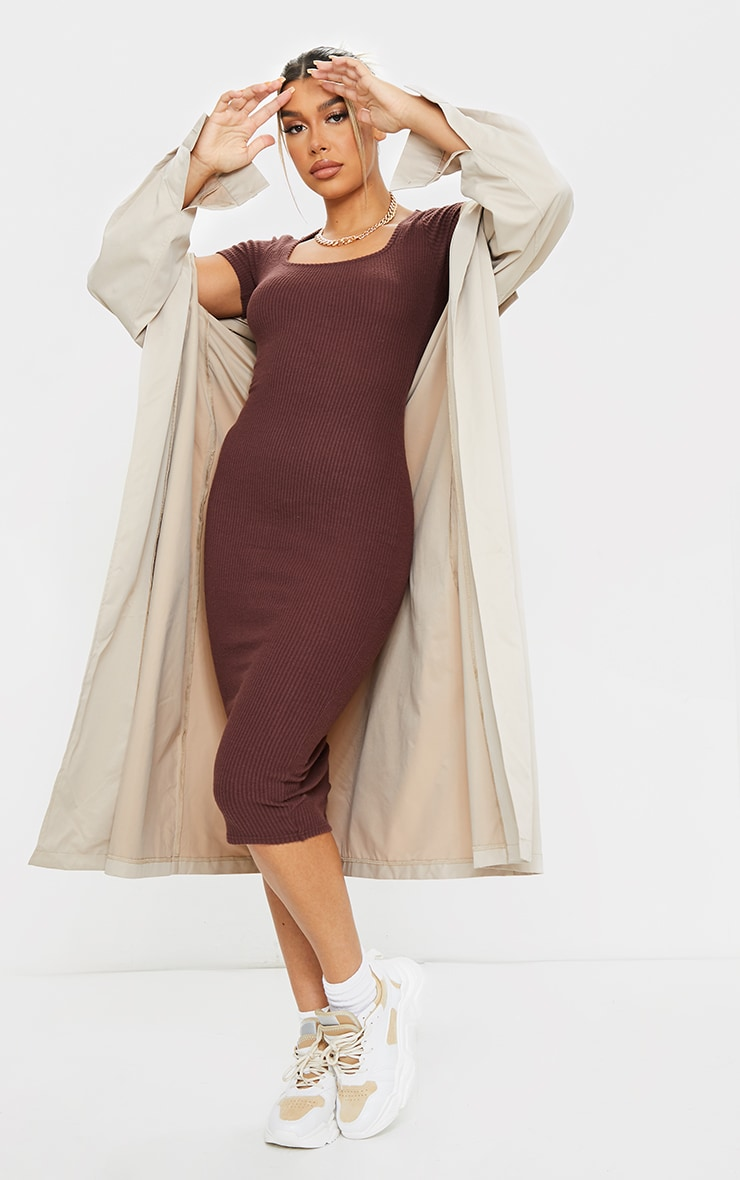 Chocolate Brushed Rib Square Neck Midi Dress