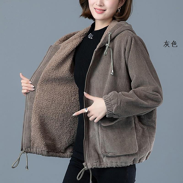 女士外套加厚燈芯絨大衣 百搭韓羽絨外套 女裝冬季冬裝上衣棉服 保暖女款棉衣夾克加絨女生外套