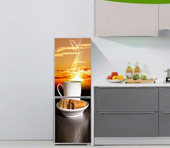 B876黃昏咖啡下午茶冰箱翻新貼紙個性裝飾貼防水家居裝飾定制1入