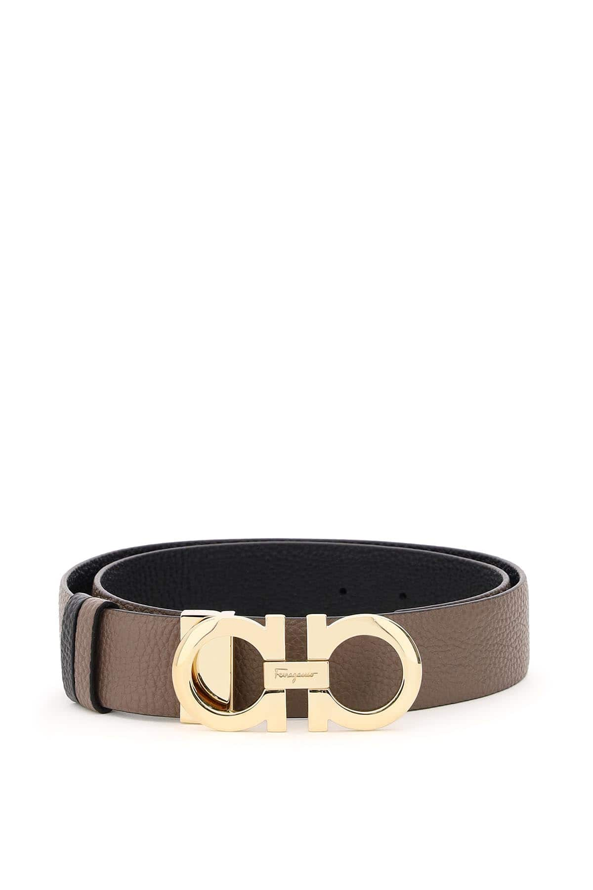 SALVATORE FERRAGAMO REVERSIBLE GANCINI BELT 95 Brown, Grey, Black Leather