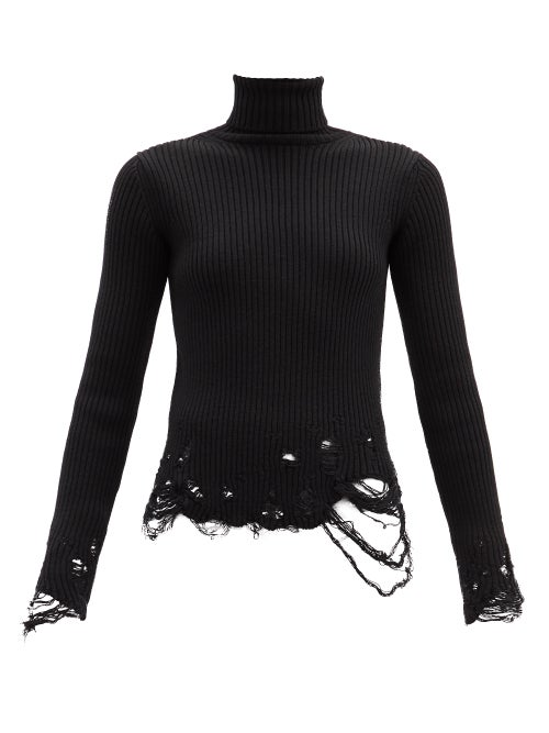 Balenciaga - Roll-neck Distressed Ribbed Virgin-wool Sweater - Womens - Black