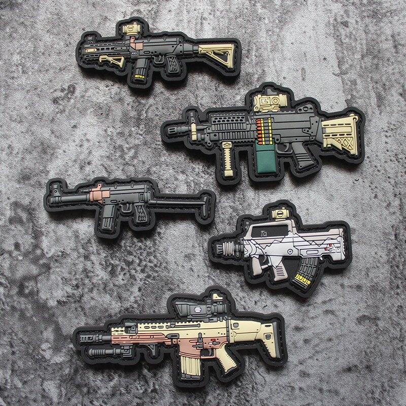 正品Q版武器魔術貼MK18 81-1 PVC臂章戰術AK步槍創意貼95式士氣章1入