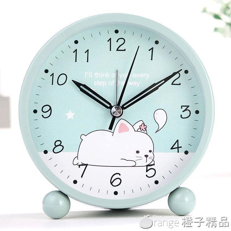 學生用兒童電子夜光卡通可愛小鬧鐘簡約鬧鈴創意床頭靜音鐘表時鐘