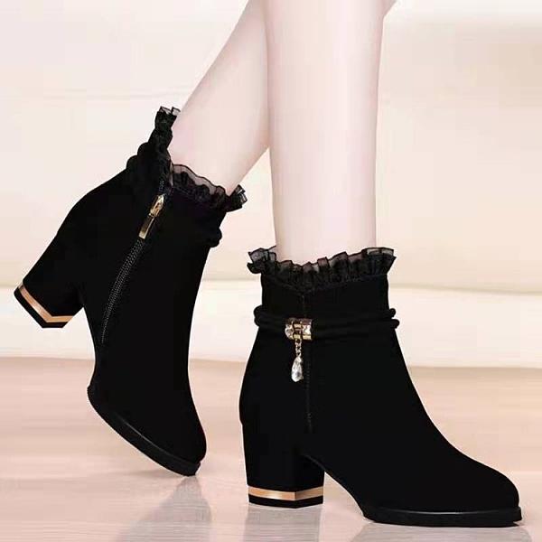 【加絨保暖】2021秋冬季絨面短靴粗跟女靴性感蕾絲百搭側拉鏈裸靴 8號店