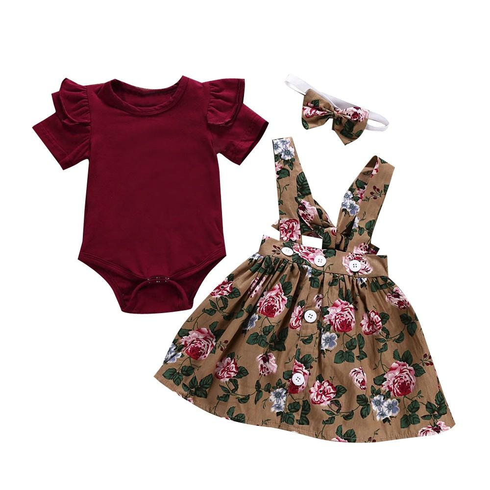新生兒三件套 女童超可愛小洋裝 小飛袖純色哈衣 0-3歲 復古碎花背帶裙 周歲 抓周 百日紀念 禮物