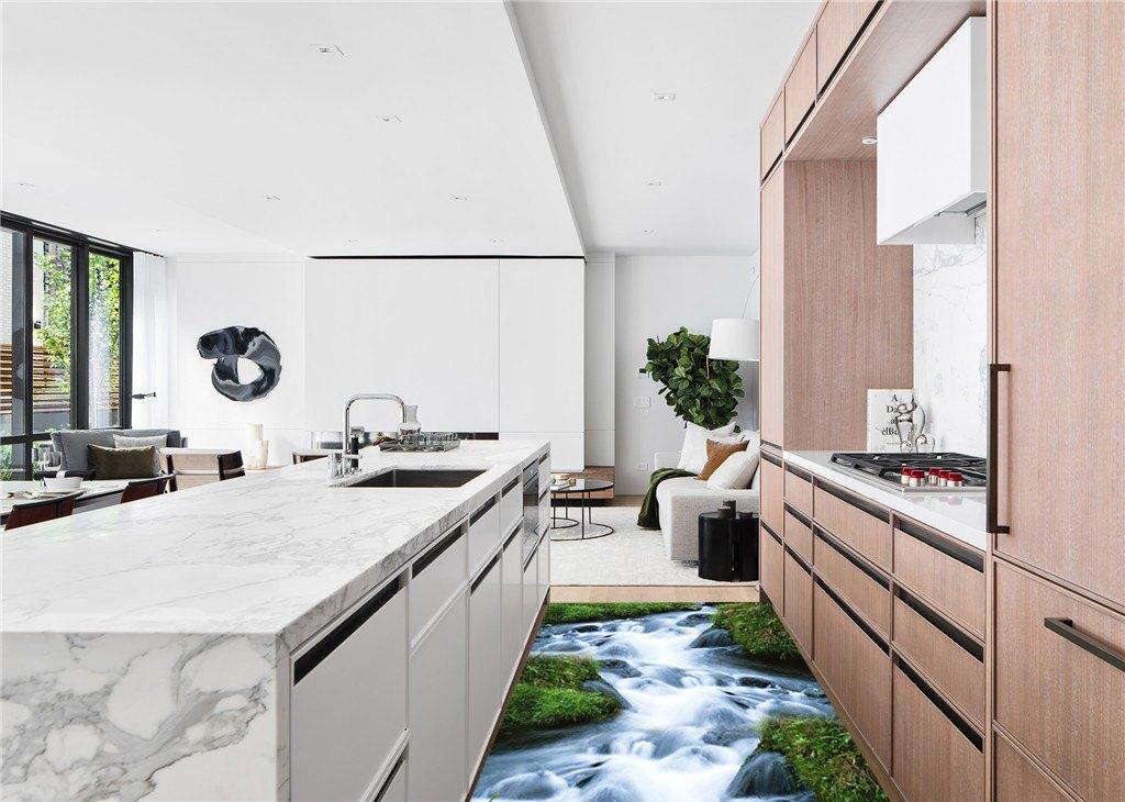 DT2953D防滑地板貼紙 清新綠草溪流房門浴室廚房防水地貼裝飾1入