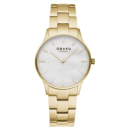 OBAKU 都會知性貝殼時尚腕錶-金X白-V247LXGWSG