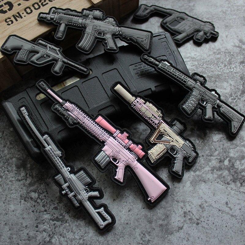 Q版武器魔術貼步槍貼 硅膠臂章 士氣章PVC款徽章巴雷特技能章包貼1入