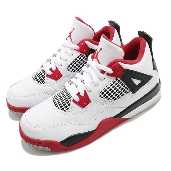 Nike 籃球鞋 Air Jordan 4 Retro Fire Red 白 黑 紅 四代 喬丹 中童 童鞋 【ACS】 BQ7669-160