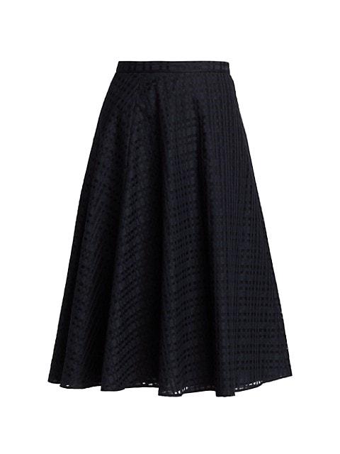 Tonal Checked Silk & Cotton Skirt