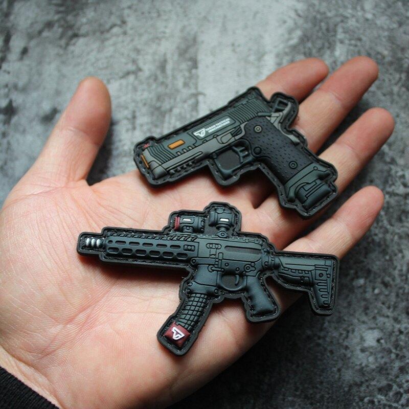 新品Q版武器魔術貼PVC硅膠章士氣章戰術包貼TTI MPX迷你型技能章1入