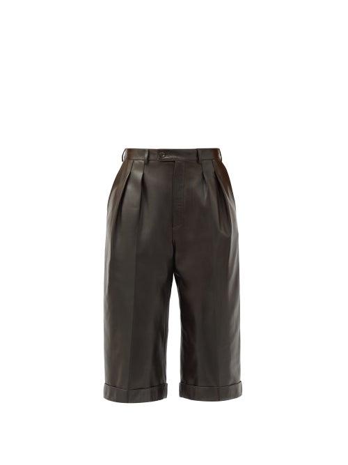 Saint Laurent - High-rise Leather Bermuda Shorts - Womens - Brown